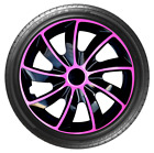 4x Wheel Covers Hub Caps 16Inch Universal Wheel Trims ABS 16 Trim [QUAD Pink]