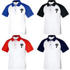 Philadelphia Phillies Raglan Polo T-Shirt Baseball Collar Tee Jersey Uniform 112 on Ebay