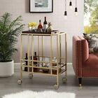 Bar Cart With Caster Removable Serving Tray Kitchen Storage Top Wooden Tea Wine