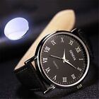 Men's Watch Luxury Faux Leather Mens Quartz Analog Business Casual Wrist Watches image