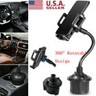 US Universal 360 Adjustable Car Mount Gooseneck Cup Holder Cradle for Cell Phone