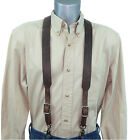 Distressed Dark Brown Leather Suspenders scissor snaps