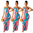 Women Sexy Halter Sleeveless Printed Graffiti Dress Casual Party Long Maxi Dress