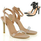 Womens Strappy Stiletto Perspex Toe Strap Sandals Ladies Prom Party Shoes Size