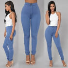 Womens Pencil Stretch Casual Denim Skinny Jeans Slim Pants High Waist Trousers