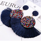 Women Bohemian Statement Long Earring Fringe Fashion Big Rhinestone Earrings B