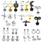 3/4/6x Black Gold Silver Steel Ear Cartilage Helix Tragus Studs Earring Piercing image