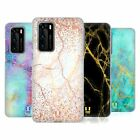 HEAD CASE DESIGNS GLITTERY MARBLE PRINTS SOFT GEL CASE FOR HUAWEI PHONES