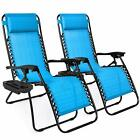 Set of 2 Adjustable Zero Gravity Lounge Chair for Patio, w/Cup Holder Trays