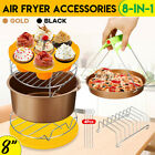 "8"" 8Pcs Air Fryer Accessories Set Chips Baking Basket Pan Rack For 5.2~5.8QT US"