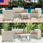 Modern Weather Outdoor Patio Garden Furniture Sofa Gray Love Seat / Coffee Table