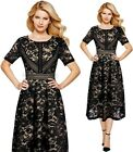 Womens Retro Floral Lace Patchwork Cocktail Party Flare Skater A-Line Midi Dress