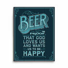 Click Wall Art Beer Is Proof That God Loves Us Textual Art Plaque in Blue