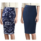 Womens Solid Color Print High Waist Work Office Casual Slim Bodycon Pencil Skirt