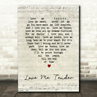 Love Me Tender Script Heart Song Lyric Quote Print