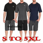Mens Cotton pyjamas  T Shirt & Shorts Summer Nightwear Pyjama Lounge Set  dx1