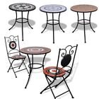 Outdoor Mosaic Patio Table Bistro Roof Garden Furniture Metal Frame Round Shap