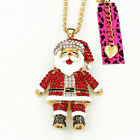 Betsey Johnson Crystal Enamel Santa Claus Pendant Long Chain Necklace Xmas Gift