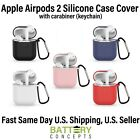 AirPods 2 Silicone Case Cover Protective Skin w/Keychain for Apple AirPods 1  2