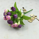 15 Heads Fake Silk Flowers Artificial Rose Wedding Garden Floral Decor Plant UK
