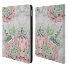 NATURE MAGICK PINK SUCCULENTS ON MARBLE LEATHER BOOK WALLET CASE FOR APPLE iPAD