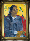 Gauguin Woman with a Flower 1891 Wood Framed Canvas Print Repro 12x18