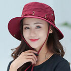 Anti-UV Fisherman Cap Women Cozy Wide Brim Summer Beach Sun Bucket Hat B