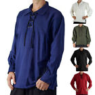 Mens Pirate Gothic Medieval Musketeer T Shirt Fancy Dress Shirt Lace Up Tops Hot