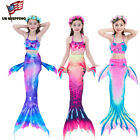NEW Kids Girls 3Pcs Mermaid Tail Bikini Set Swimwear Swimmable Swimming Costumes