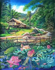 Summer Day Countryside Lotus Pool HP Design Printed Needlepoint Canvas C#108 $17.99 USD on eBay