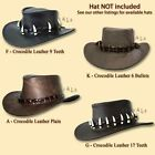 ~oZtrALa~CROCODILE Leather HAT BAND Mens AUSTRALIAN Outback DUNDEE Cowboy Aussie