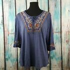 NWT STYLE & CO Women's Top Blouse Embroidered Lace Up Western Style Various Size