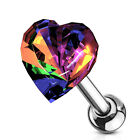 "1 PC 16g 1/4"" CZ 6MM Heart Tragus Cartilage Barbell  Stud Earring #A image"