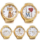 Lady Girl Golden Tone Round Elastic Alloy Quartz Watches Finger Ring Watch Soft image