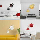AU_ 3D Teapot Cup Acrylic Mirror Wall Clock Stickers DIY Home Decor Decals Relia