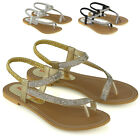 Womens Slingback Strappy Sandals Ladies Flat Sparkly Diamante Shoes Toe Post 3-8