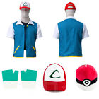 New Shirt Jacket + Gloves + Hat + Ball Pokemon Ash Ketchum Trainer Costume Hot