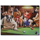 Dogs Playing Pool Art Fabric Poster HD Print Home Wall Decor Multi Sizes #100 $13.22 USD on eBay