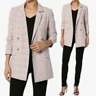 TheMogan Grey & Pink Checked Double Breasted Fully Lined Blazer Tailored Jacket