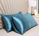 2Pcs Pillow Cases Standard Stain Silk Soft Smooth Pillowcase Home Sleep Bedding image