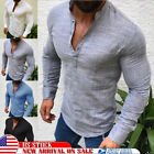 Fashion Men's Slim Fit V-Neck Long Sleeve Muscle Tee T-shirt Casual Tops Blouse image