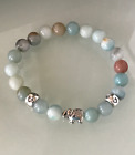 Protection Anxiety Stress Relief Love Heart Elephant Amazonite Healing Bracelet