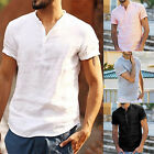 Mens Linen Short Sleeve Shirt Summer Cool Loose Casual V-Neck Shirts Tops Blouse image