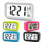 Digital LCD Snooze Battery Operated Alarm Clock Time Temperature Display Bedside