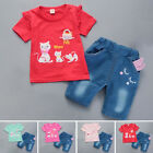 Baby Kid Girls Cartoon Short Sleeve T-shirt Tops & Pants Outfits Summer Clothes