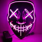 Halloween LED Glow Full Mask EL Wire Light Up The Purge Movie Rave Dance Party