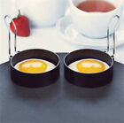 2x Metal Egg Frying Rings Mould Circle Round Fried/Poach Mould +Handle Non Stick