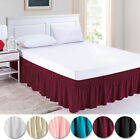 "Elastic Ruffle pleated Bed Skirt Bedspread Cover w/ 15"" Drop Valance Twin Set  image"