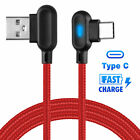 90° Right Angle USB LED Fast Charging Data Cable for Android iPhone Type C