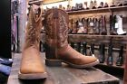 Old West Men's Cowboy Boots size 46 Brown Round Toe Western 1637M Slightly Used